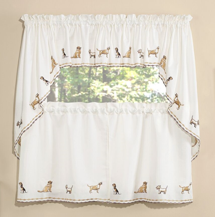 Dogs Embroidered Kitchen Curtain Linens4less Com