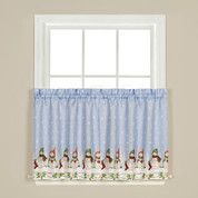 "Winter Wonderland Christmas 24"" kitchen curtain tier"
