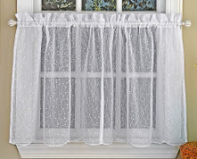 "Floral Spray 36"" kitchen curtain tier - White"