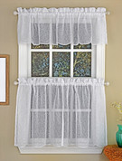 Floral Spray Sheer Kitchen Curtain - White