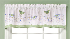 Morning Song kitchen curtain valance from Saturday Knight at Linens4Less