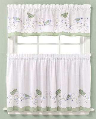 Morning Song Birds Embroidered Kitchen Curtain from Saturday Knight at Linens4Less