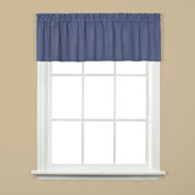 Hopscotch kitchen curtain valance - Denim Blue from Saturday Knight on Linens4Less.com