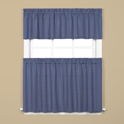 Hopscotch Kitchen Curtain - Denim Blue from Saturday Knight on Linens4Less.com