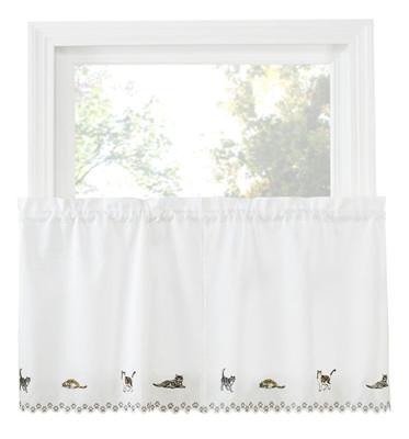 "Cats 36"" kitchen curtain tier"