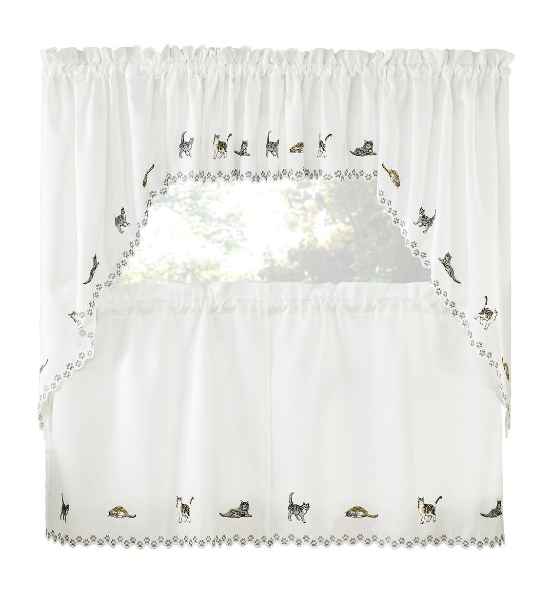 Cats Embroidered Kitchen Curtain Linens4less Com