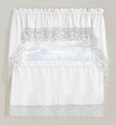 Maribel Embroidered Kitchen Curtain - Silver