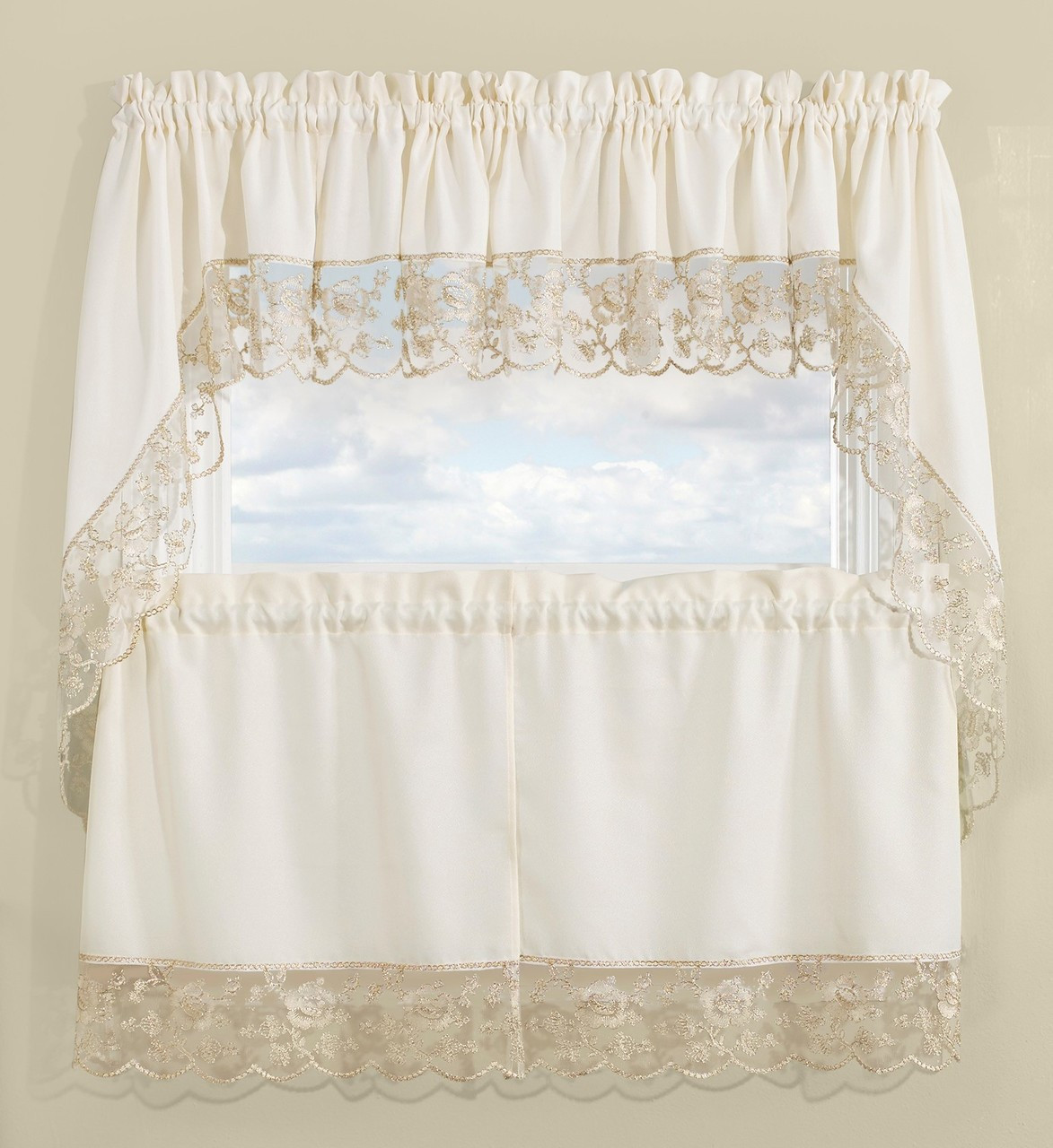 Maribel Embroidered Kitchen Curtain Gold