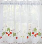 """Strawberries 24"""" kitchen curtain tier"""