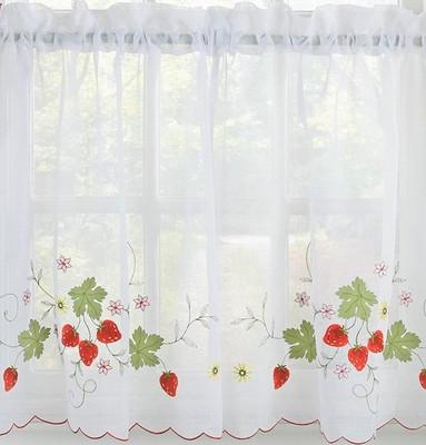 """Strawberries 36"""" kitchen curtain tier"""