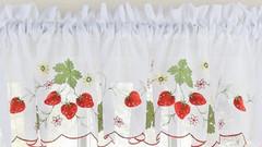 Strawberries kitchen curtain valance