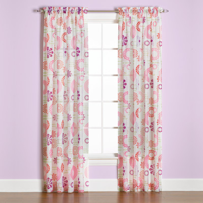 Dream Rod Pocket Curtain Panel in Pink from Saturday Knight (2 panels shown)