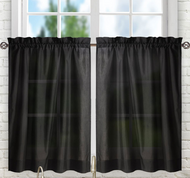 "Stacey 30"" kitchen curtain tier - Black"