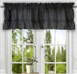 Stacey Solid Kitchen Curtain valance - Black