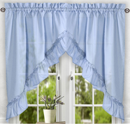 Stacey kitchen curtain swag - Slate Blue