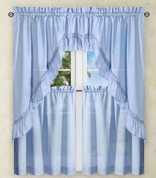Stacey Solid Kitchen Curtain - Slate Blue