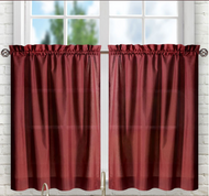 "Stacey 24"" kitchen curtain tier - Merlot Burgundy"