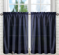 "Stacey 30"" kitchen curtain tier - Navy Blue"