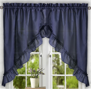 Stacey kitchen curtain swag - Navy Blue