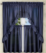 Stacey Solid Kitchen Curtain - Navy Blue