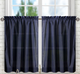 Stacey Solid Kitchen Curtain tier- Navy Blue
