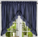 Stacey Solid Kitchen Curtain swag - Navy Blue