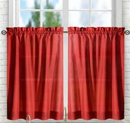 "Stacey 36"" kitchen curtain tier - Red"