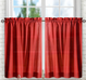 Stacey Solid Kitchen Curtain tier pair - Red