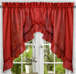 Stacey Solid Kitchen Curtain swag - Red