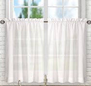 "Stacey 24"" kitchen curtain tier - White"