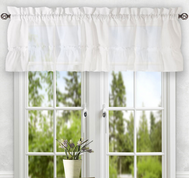 Stacey kitchen curtain valance - White