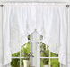 Stacey Solid Kitchen Curtain swag - White