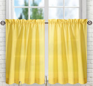 "Stacey 30"" kitchen curtain tier - Yellow"
