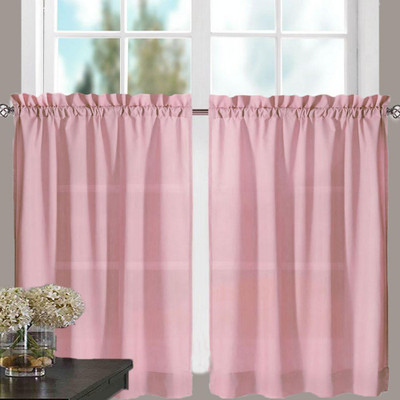 "Stacey 30"" kitchen curtain tier - Blush"