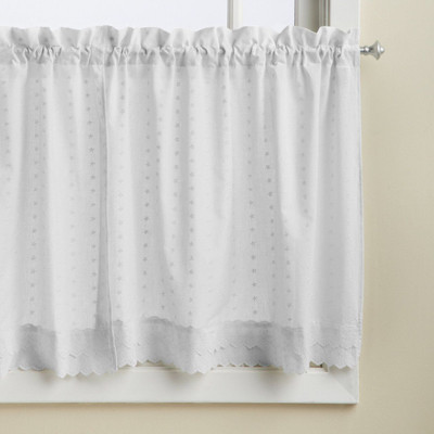 "Ribbon Eyelet 36"" kitchen curtain tier - White from Lorraine Home"