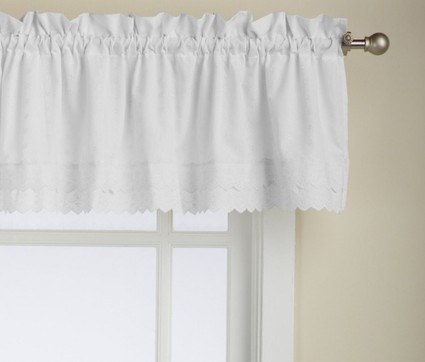 Ribbon Eyelet kitchen curtain valance - White from Lorraine Home