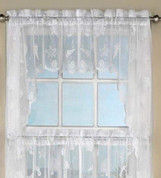 Reef lace kitchen curtain swag - White