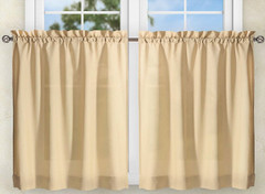"Stacey 24"" kitchen curtain tier - Almond"