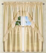 Stacey Solid Kitchen Curtain - Almond