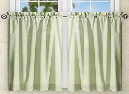 "Stacey 36"" kitchen curtain tier - Sage Green"