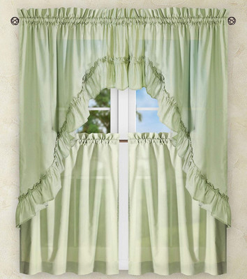 Stacey Solid Kitchen Curtain - Sage Green