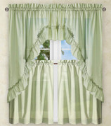 Stacey Solid Kitchen Curtain - Sage Green