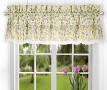 Clarice kitchen curtain valance - Blue