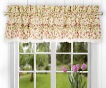 Clarice kitchen curtain valance - Red