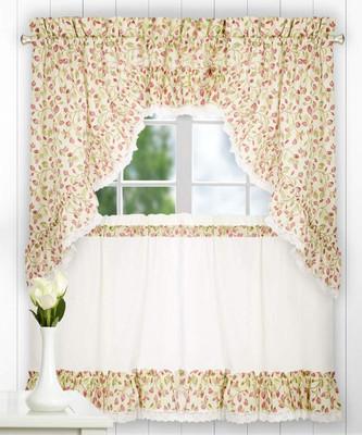 Clarice Kitchen Curtain - Red