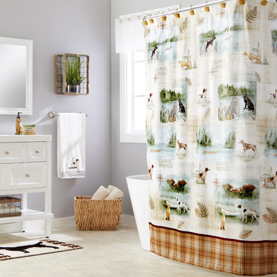 Adirondack Dogs Shower Curtain & Bathroom Accessories  from Saturday Knight