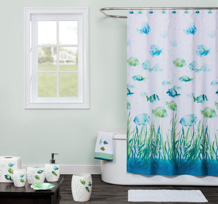 Atlantis Shower Curtain & Bathroom Accessories from Saturday Knight