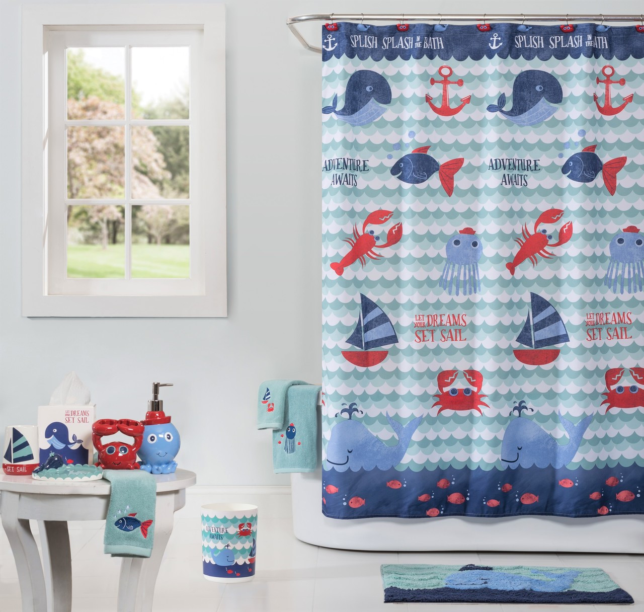 Set Sail Shower Curtain Bathroom Accessories From Saturday Knight