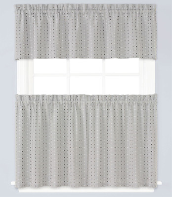 Hopscotch Gray Kitchen Curtain from Saturday Knight