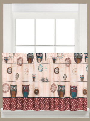 "Spice Owls 36"" kitchen curtain"